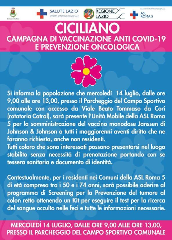 CAMPAGNA DI VACCINAZIONE ANTI COVID-19 E PREVENZIONE ONCOLOGICA